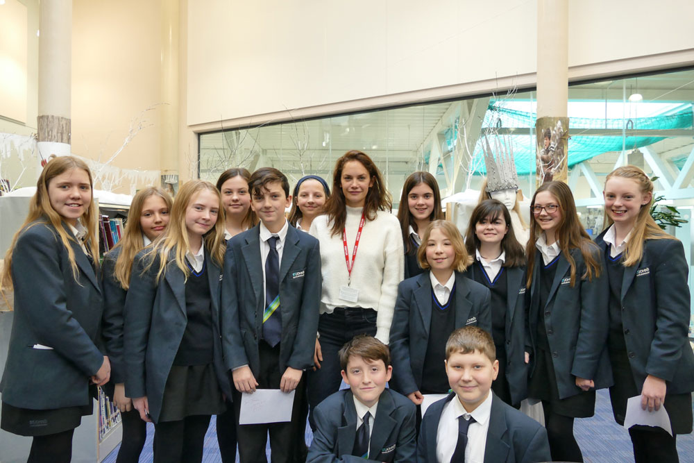 Ruth Wilson with Year 7 students at St John's Academy