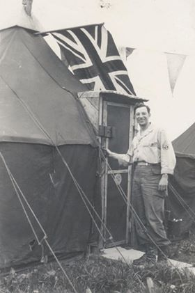 Sgt Mike Finelli of the US Army's 347th Station Hospital on Marlborough Common. Photo may have been at Chiseldon Camp but definitely VE Day. Permission Neil Stevens