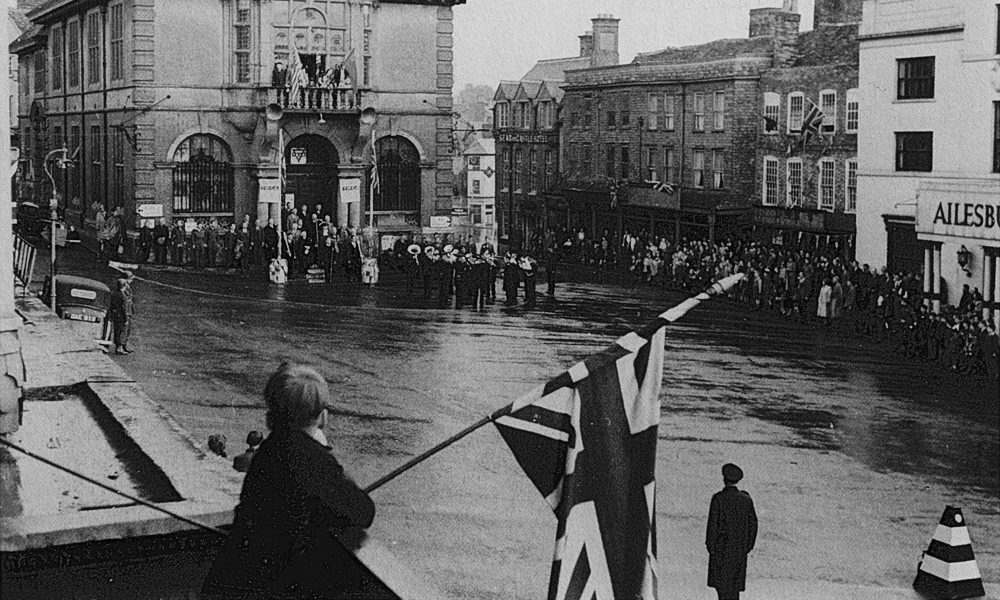 VE Day 1945, Marlborough Town Hall  Pic courtesy of Marchant's House Archive