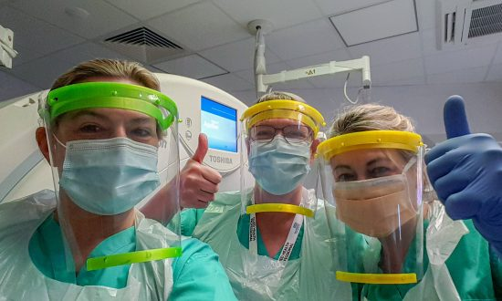 st-johns-coronavirus-masks-West-Berkshire-Community-Hospital-workers-wearing-the-St-John's-face-shields