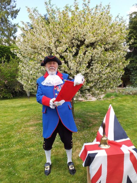 Town Crier, Mike Tupman doing a 'Cry for Peace' shout for VE Day