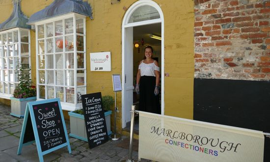 Emma Waring-Jones gets ready to welcome customers to Marlborough Confectioners marlborough lockdown