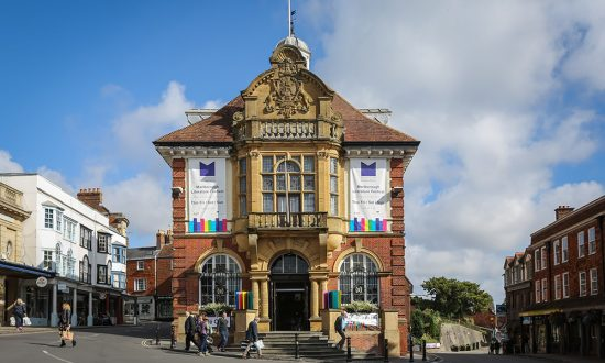 Marlborough Town Hall adorned for LitFest - unfortunately now next year. pic: Ben Phillips