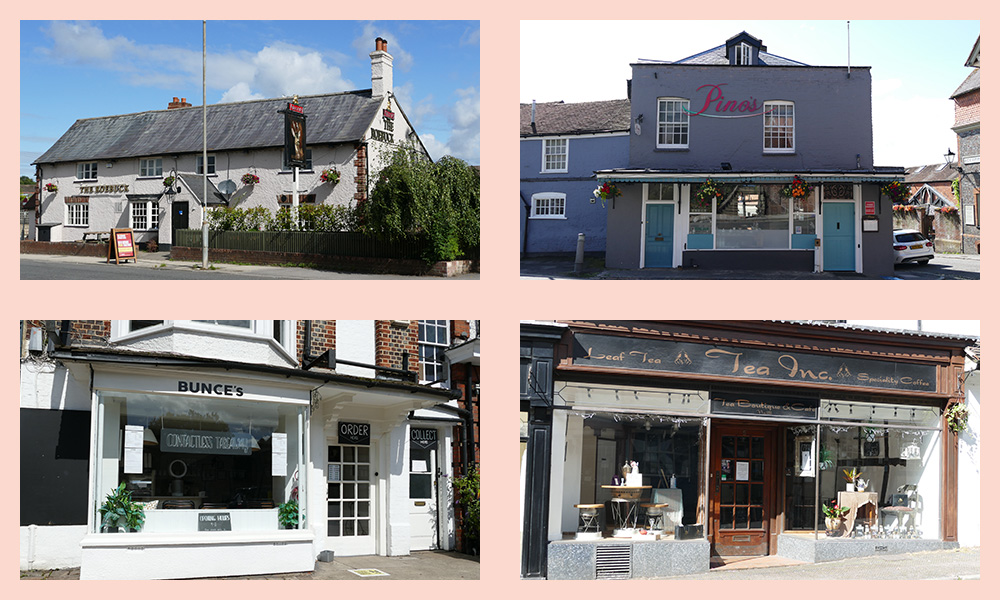 Four of Marlborough's participating restaurants and cafes - clockwise from top left:  The Roebuck; Pino's; Tea Inc; Bunce's