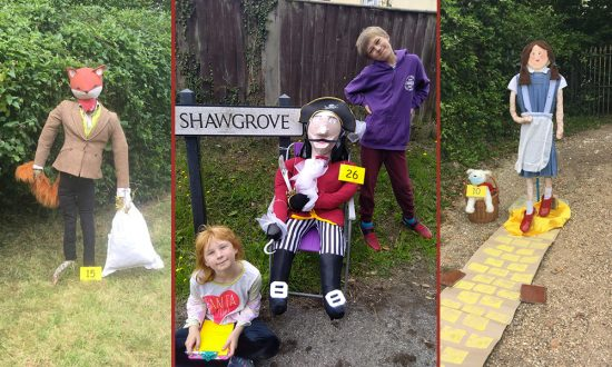 Some of Great Bedwyn Primary School 'Socially Distanced Scarecrows' - Fantastic Mr Fox, the Buckell's family scarecrow and Dorothy complete with ruby slippers