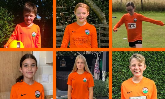 Nominees for the MYFC Club Player of the Year 2020 awards - clockwise from top left: Isaac, Olivia, Amy, Oliver, Kiera, Blu