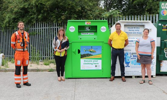 (l-r) Wiltshire Air Ambulance critical care paramedic Ben Abbott, director of fundraising and communication Barbara Gray, fundraising manager Des Regan and Recycling Solutions' Wendy Yarney unveil a Wiltshire Air Ambulance clothing bank