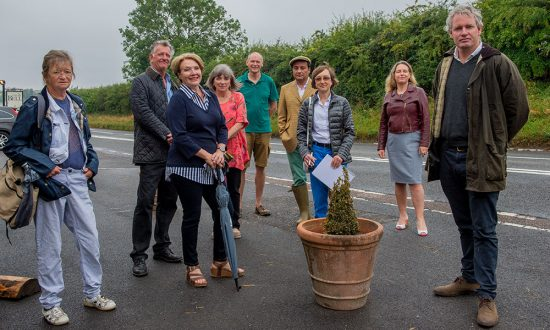Devizes MP Danny Kruger with representatives of the groups campaigning for traffic calming on this stretch of the A4 to the West of Marlborough