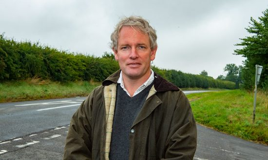 Danny Kruger MP, visiting the A4 near West Overton