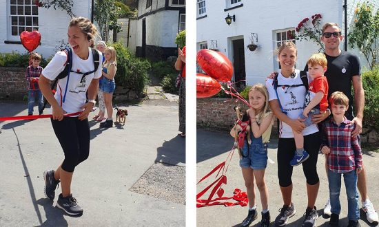 Jo crossing the line in Manton, and winding down afterwards with husband Ryan and children Indiana, Arlo and Bodhi