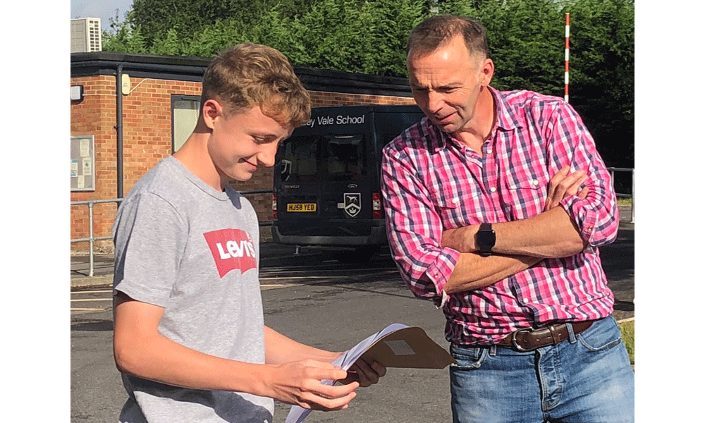Rory, Headboy at Pewsey Vale School, receives Grade 9's in all his GCSE subjects and will be studying at Marlborough College Sixth Form in September