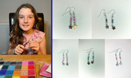 Lola Precious-Ward and a selection of the earrings she has created for Sarcoma UK