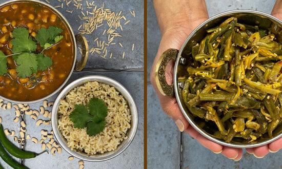 Usha's Very Own, – Rice Lobia (left), Bhindi (right)