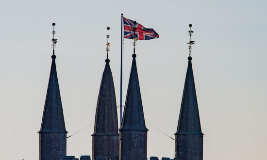 The Union Flag flying on the top of St Peters, Marlborough earlier today (Easter Sunday, 04 April 2021)