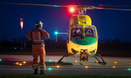 Wiltshire Air Ambulance at night - pic Terry Donnelly