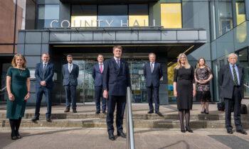 Wiltshire Council's new Cabinet: L-R – Cllr Laura Mayes, Cllr Mark McClelland, Cllr Phil Alford, Cllr Nick Botterill, Cllr Richard Clewer (Leader), Cllr Simon Jacobs, Cllr Pauline Church, Cllr Jane Davies, Cllr Ian Blair-Pilling