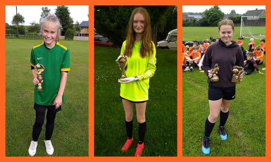 MYFC Players of the year for the past two seasons - Mia Evans, NiamhHourd and Olivia Hancock