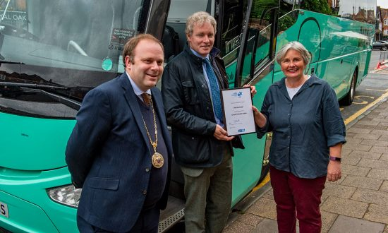 Marlborough Mayor Mark Cooper with MP Danny Kruger (centre) and Tourism Officer Belinda Richardson on the day that the 'Coach Friendly' status certificate was awarded