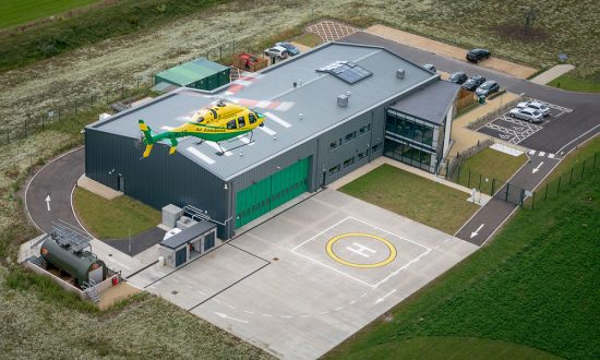Wiltshire Air Ambulance's Bell 429 helicopter flies above the charity's airbase in Semington, near Trowbridge (CREDIT: Terry Donnelly)
