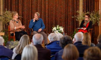 Jessie Greeengrass, Jonathon Porritt and Rosie Goldsmith in the Town Hall Assembly Room on Saturday afternoon. Pic: Ben Phillips Photography